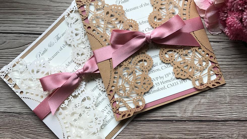 Laser Cut Wallet Wedding Invitation SAMPLE