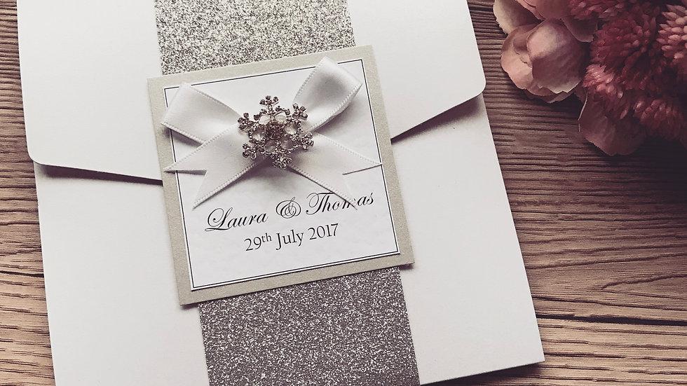 Snowflake Pocketfold Wedding Invitation SAMPLE