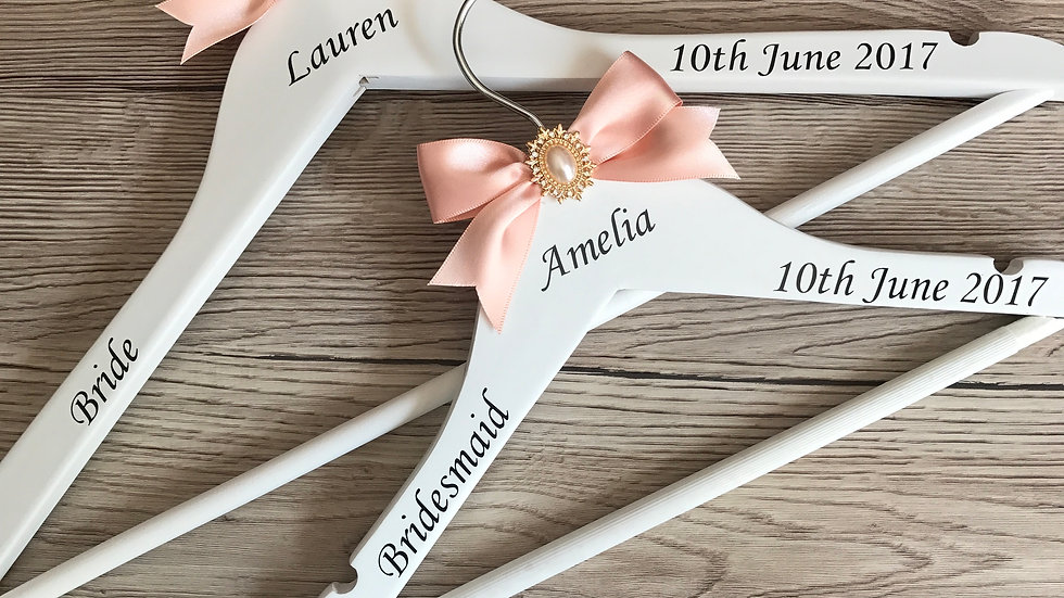 Wooden Wedding Hangers with Rose Gold Pearl