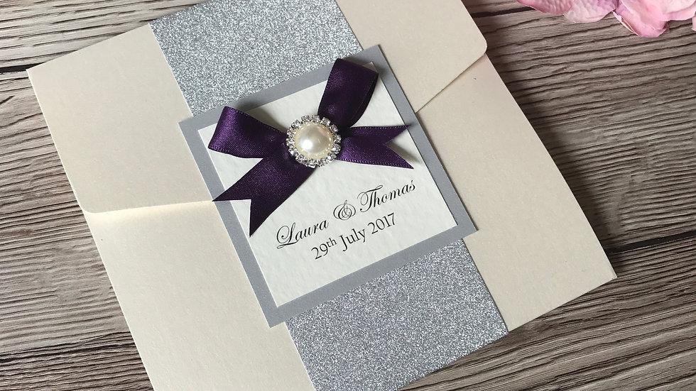 Glitter and Pearl Pocketfold Wedding Invitation SAMPLE