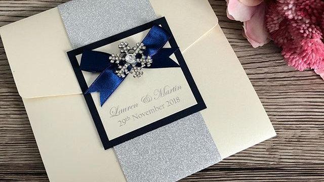 Holly Snowflake Invitation