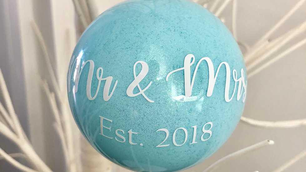 Mr and Mrs Est. 2018/19 Glittered Glass Bauble