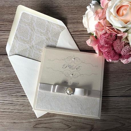 Ivory Initials Pocketfold Wedding Invitation