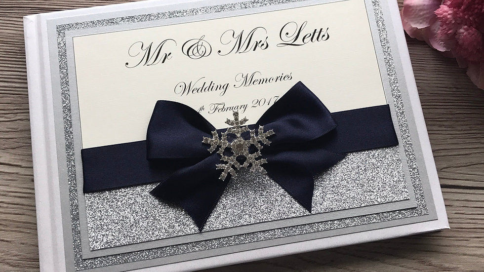 Holly Snowflake Wedding Guestbook