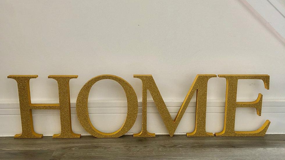 Freestanding Glittered Wooden HOME