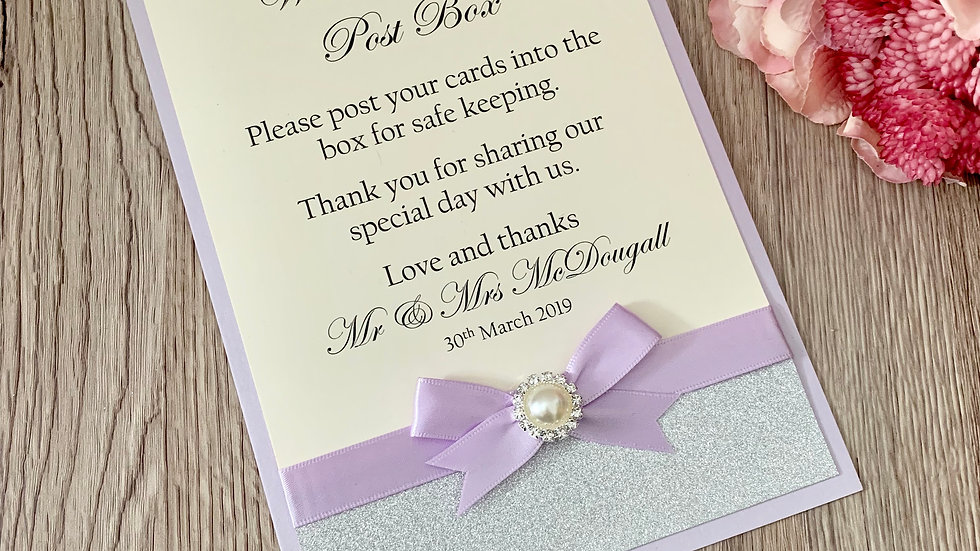 Personalised Wedding Postbox Front Piece