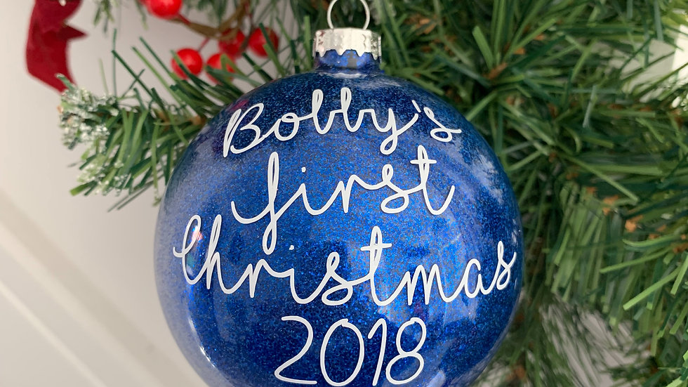 Personalised Baby's First Christmas Glittered Glass Bauble