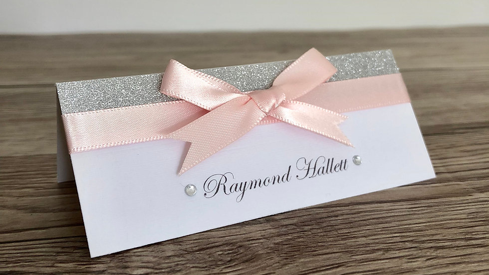Glitter and Ribbon Place Name Cards