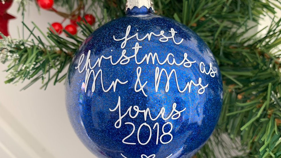 First Christmas as Mr & Mrs Glittered Glass Bauble