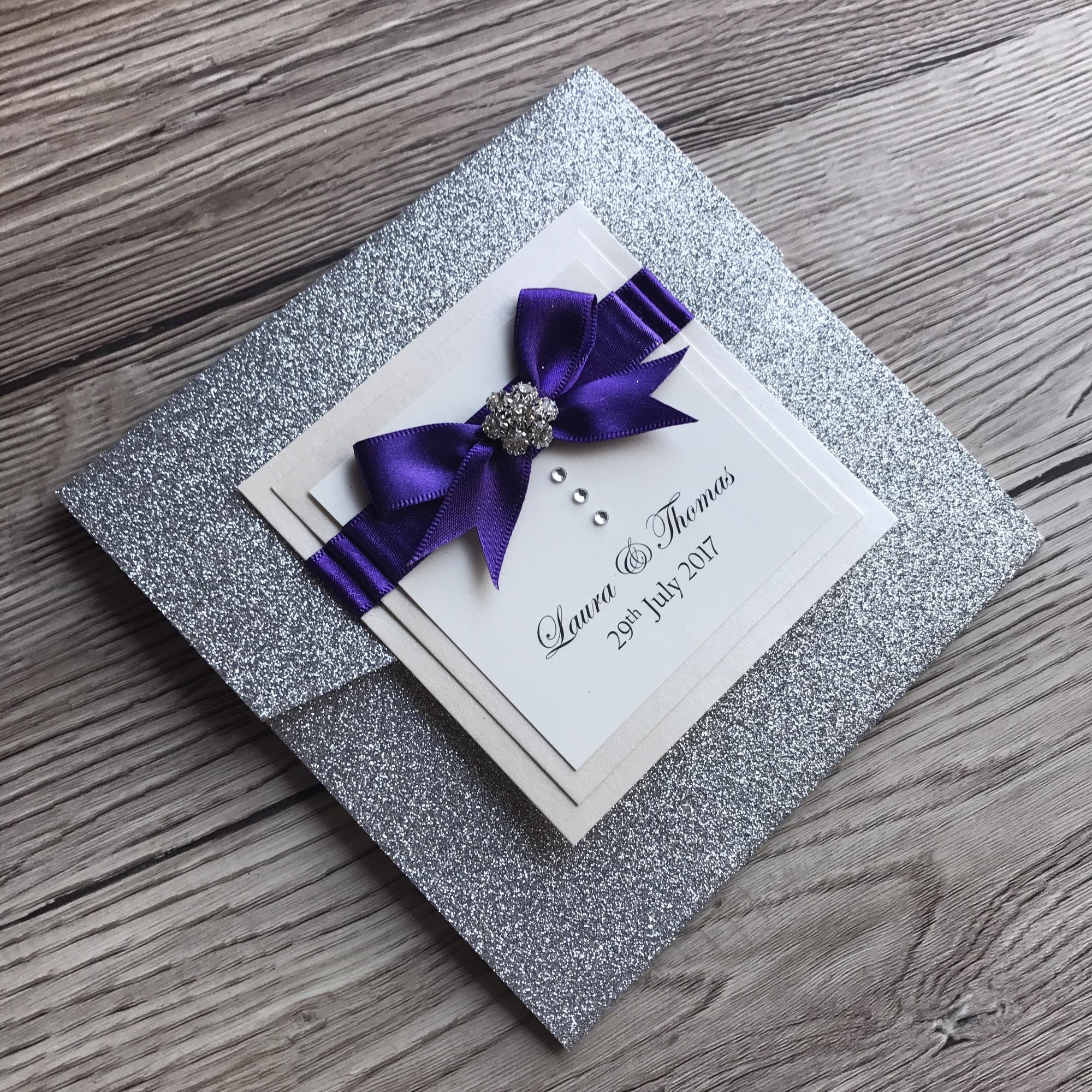 Silver Glitter Pocketfold Invitation