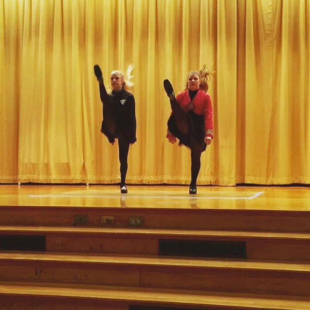 The unstoppable Grejda sisters warm up for shows yesterday..