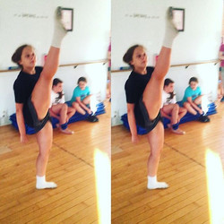 To say that Kenzie _the kicks_ Green has improved her extension would be an understatement to say th