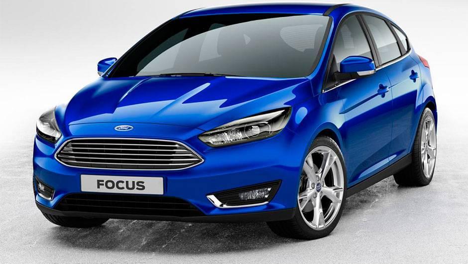 Carro azul, marca Ford, modelo Focus.