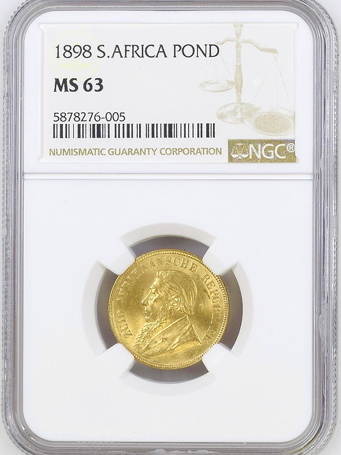 S. Africa: 1898 ZAR Gold Pond NGC Certified MS63