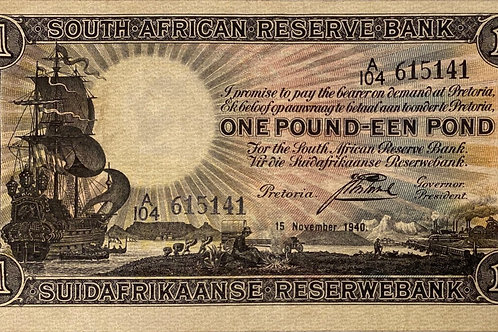 S. Africa (Reserve Bank): 1940 J. Postmus 1 Pound 1st & Only Issue