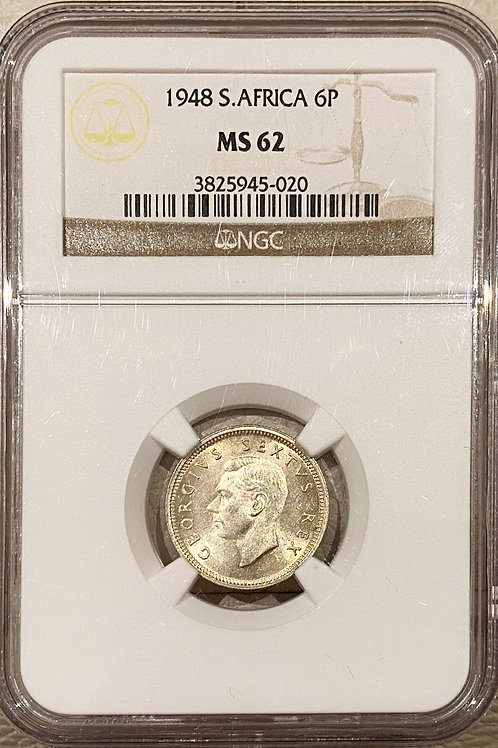 S. Africa: 1948 KGVI 6D (Sixpence) NGC Certified MS62