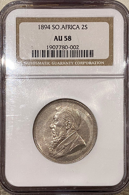 S. Africa: 1894 ZAR 2 Shillings (Florin) NGC Certified AU58