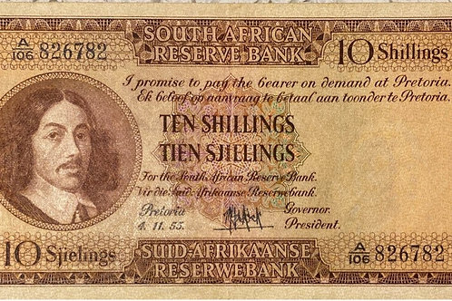 S. Africa (Reserve Bank): 1955 MH de Kock 10 Shillings 3rd Issue