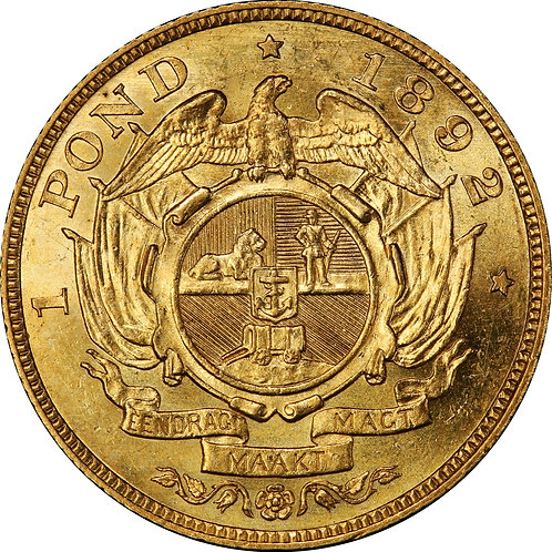S. Africa: 1892 ZAR Gold Double Shaft Pond PCGS Certified MS62