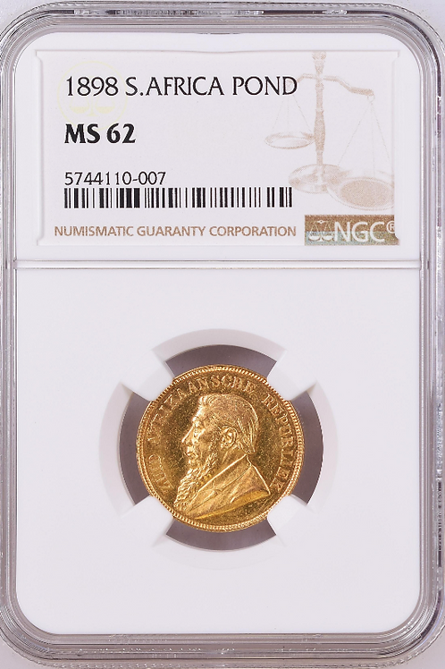 S. Africa: 1898 ZAR Gold Pond NGC Certified MS62