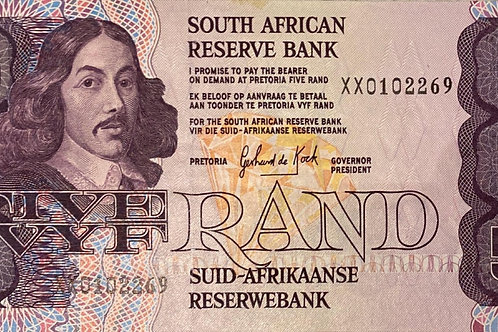 S. Africa (Reserve Bank): ND(1989) GPC de Kock Five Rand Replacement Note