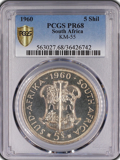 """S. Africa: 1960 QEII 5 Shillings PCGS Certified PR68 """"Union 50th Anniversary"""""""