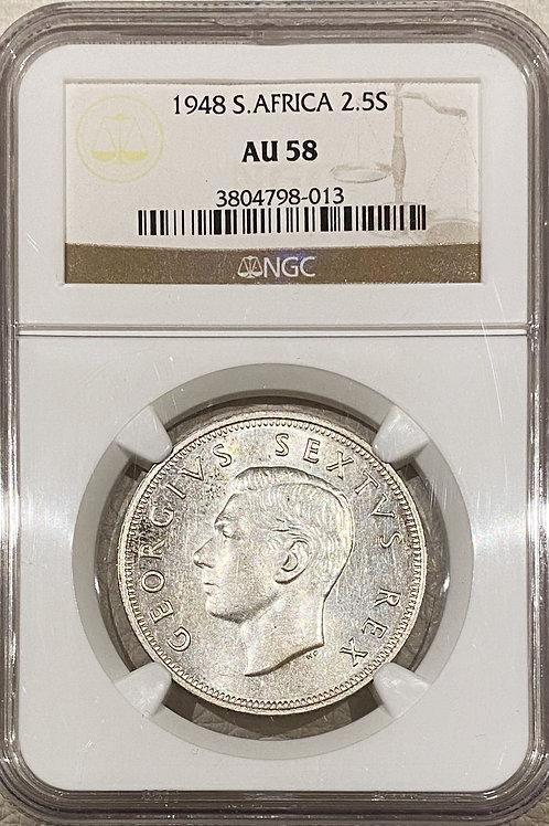 S. Africa: 1948 KGVI 2.5 Shillings (Halfcrown) NGC Certified AU58