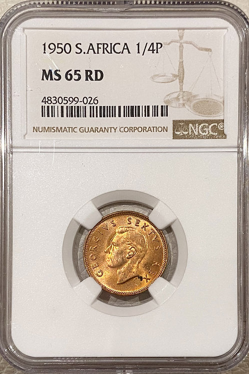 S. Africa: 1950 KGVI 1/4 Penny (Farthing) NGC Certified MS65RD