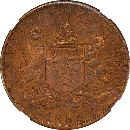S. Africa: 1889 GOGH Pattern One Penny Short Horn NGC Certified MS63BN