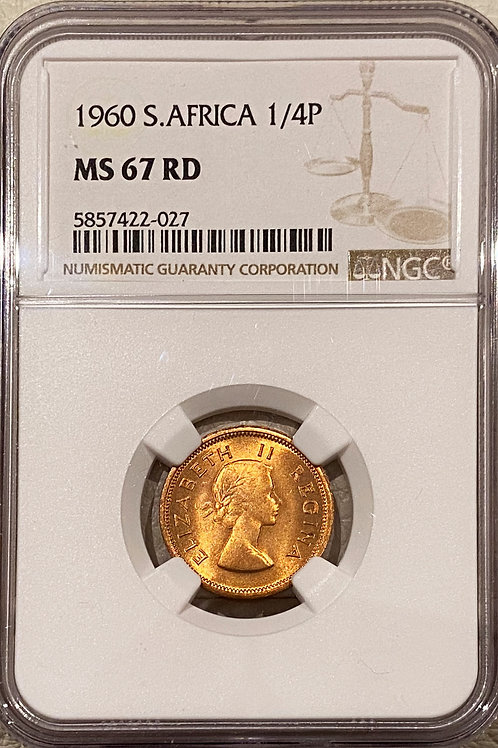 S. Africa: 1960 QEII 1/4 Penny (Farthing) NGC Certified MS67RD