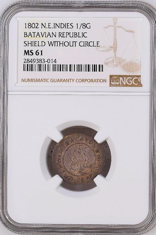 Batavian Republic: 1802 1/8 Guilder NGC Certified MS61