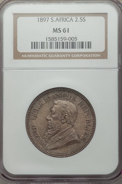 S. Africa: 1897 ZAR 2.5 Shillings (Halfcrown) NGC Certified MS61