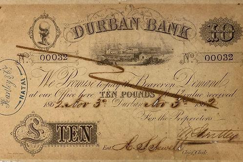 S. Africa (Pre Reserve Bank): 1862 Durban Bank Ten Pounds