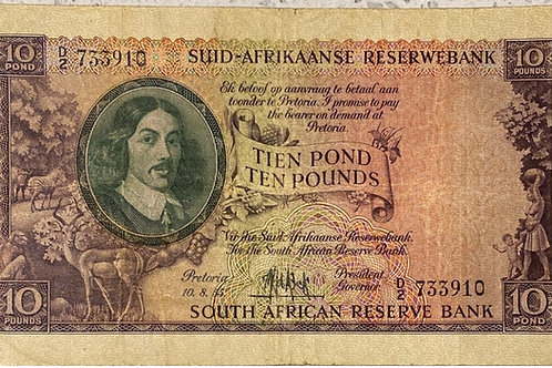 S. Africa (Reserve Bank): 1955 MH de Kock 10 Pounds 3rd and Only Issue