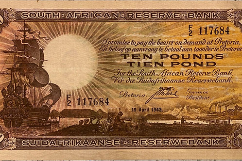 S. Africa (Reserve Bank): 1943 J. Postmus 10 Pounds 1st & Only Issue