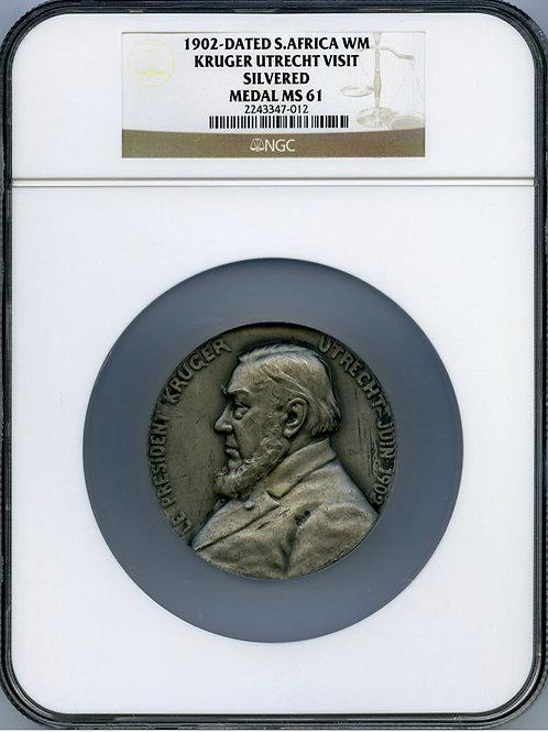 """S. Africa: 1902 """"President Kruger's Stay in Utrecht"""" Boer War Medallion"""