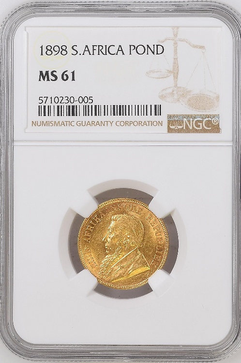 S. Africa: 1898 ZAR Gold Pond NGC Certified MS61