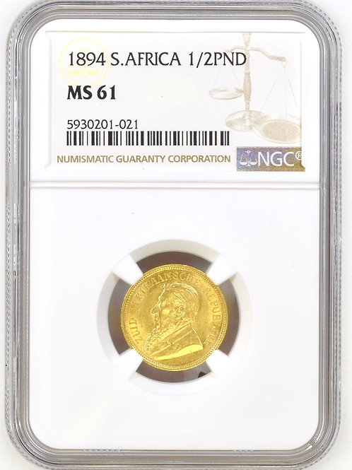 S. Africa: 1894 ZAR Gold 1/2 Pond NGC Certified MS61