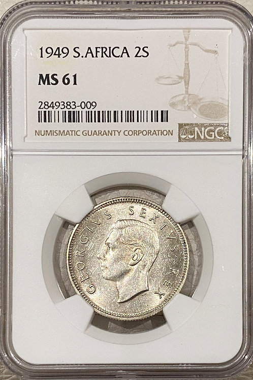 S. Africa: 1949 KGVI 2 Shillings (Florin) NGC Certified MS61
