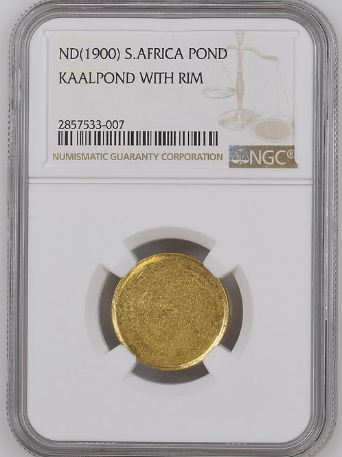 S. Africa: 1900 ZAR Gold Blank Pond With Rim NGC Certified