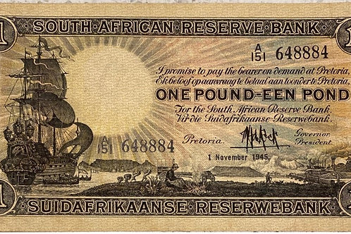 S. Africa (Reserve Bank): 1945 MH de Kock 1 Pound 1st Issue