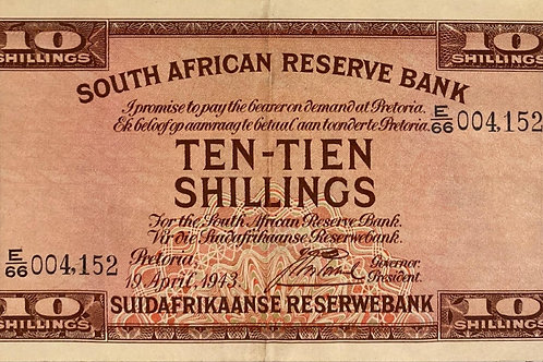 S. Africa (Reserve Bank): 1943 J. Postmus 10 Shillings 1st & Only Issue