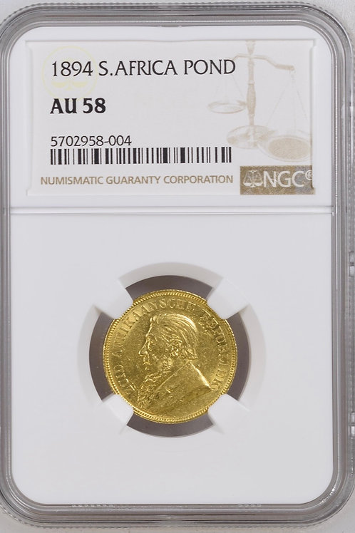 S. Africa: 1896 ZAR Gold Pond NGC Certified AU58