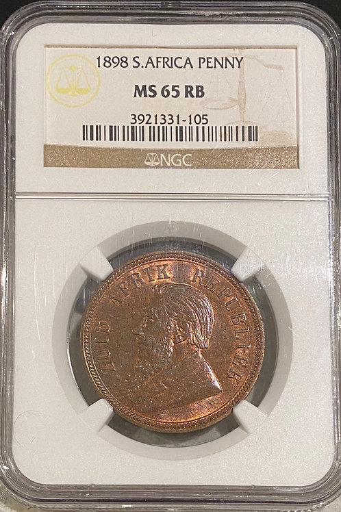 S. Africa: 1898 ZAR Penny NGC Certified MS65RB