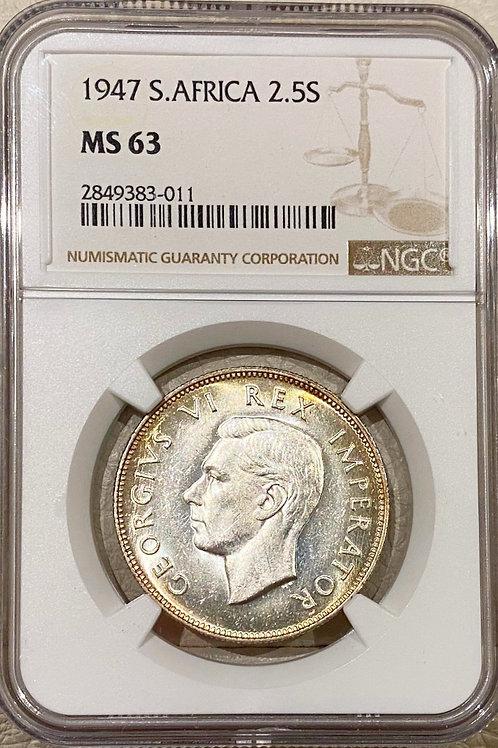 S. Africa: 1947 KGVI 2.5 Shillings (Halfcrown) NGC Certified MS63
