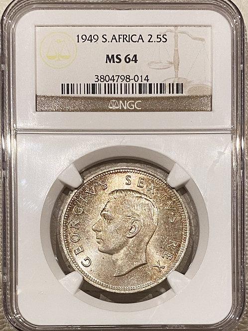 S. Africa: 1949 KGVI 2.5 Shillings (Halfcrown) NGC Certified MS64