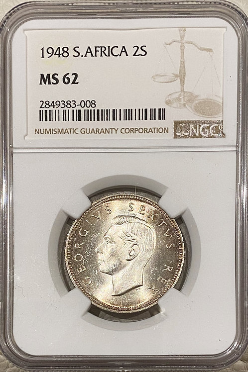 S. Africa: 1948 KGVI 2 Shillings (Florin) NGC Certified MS62