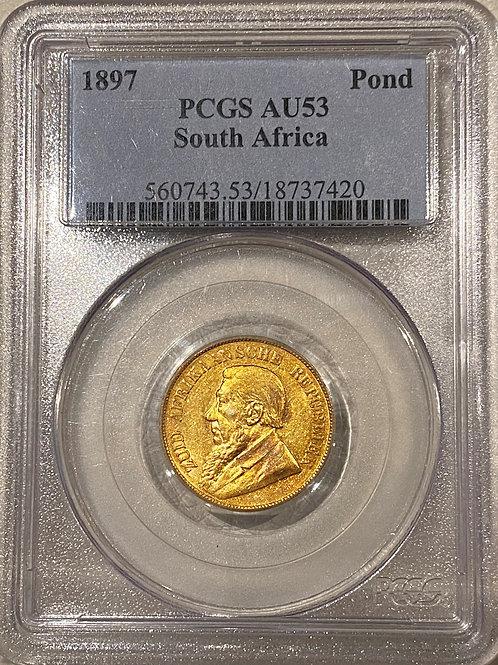 S. Africa: 1897 ZAR Gold Pond PCGS Certified AU53