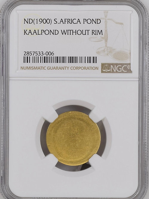 S. Africa: 1900 ZAR Gold Blank Pond Without Rim NGC Certified