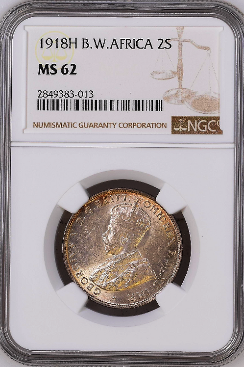 British West Africa: 1918-H Two Shillings (Florin) NGC Certified MS62